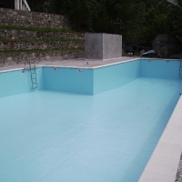 Pool coated in polyester