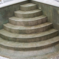 Stairs coated with polyester