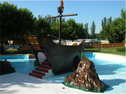 Pirate ship for municipal pool